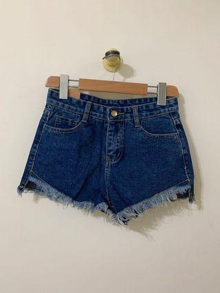 🚚 🐈💕藍色抽鬚高腰牛仔短褲