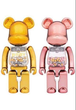 全新未開 MEDICOM TOY Be@rbrick Bearbrick 200% 超合金 My Frist Baby Gold & Purple Set