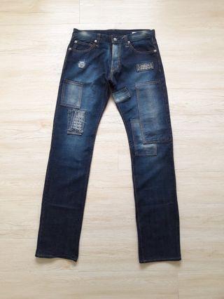 Johnston patchwork design stonewash denim jeans