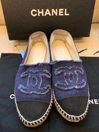 🚚 二手商品 CHANEL 香奈兒 正品鉛筆鞋 深藍 帆布 39號 G29762