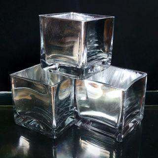 Glass Vase Set of 3 Mirror/Chrome (Square, W8 H8 cm)