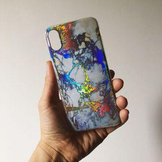 iPhone X marble holographic case