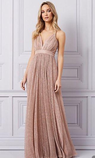 Le Château Glitter Mesh Deep V Gown