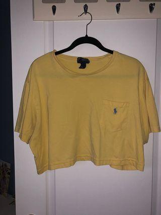Vintage Ralph Lauren Yellow Crop Top (size L)