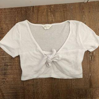 White knot crop tee