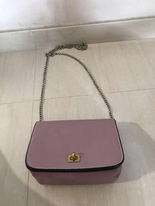 韓牌 c++ 粉紫 蓮藕色 小袋子 真皮 姊妹袋