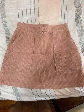 pink corduroy aline skirt