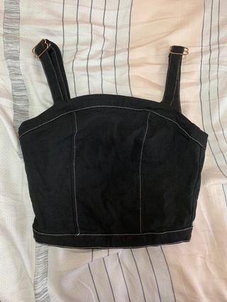 🚚 temt black strappy crop top