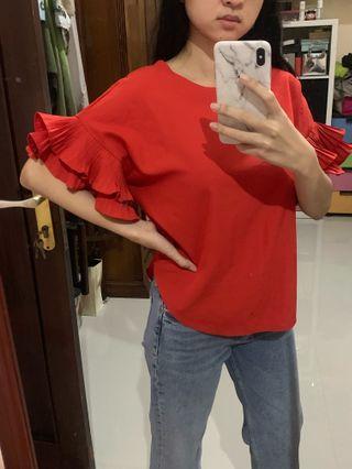 Red Blouse Top Ruffle atasan wanita