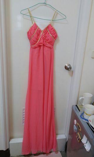 橘粉色金邊洋裝