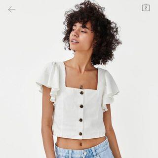BNWT Authentic Zara Linen Frilled Top