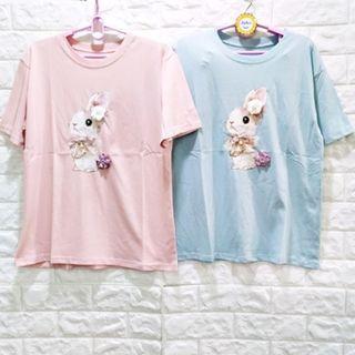 (933)夏女裝韓版高工藝立體花朵小兔上衣 L