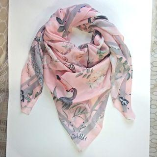 Square Scarf - Peacocks & Toucans in Pink (Corn Skin) #mauthr