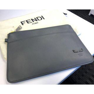 FENDI slim clutch flat pouch I SEE YOU leather gray