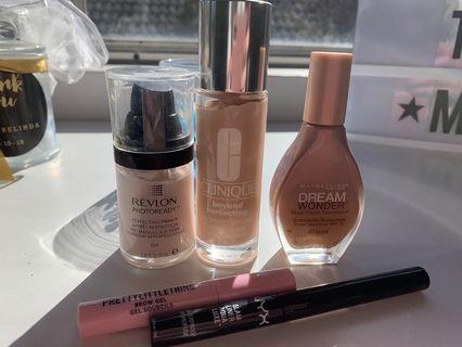 Clinique, Revlon, Maybelline make up, primer, brow gel and eye liner for sale