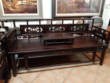 酸枝紫檀木長椅3人座椅+几桌,一抽屜,簡約風格