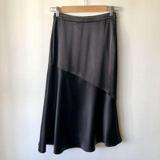 Witchery Satin Asymmetrical Midi Skirt Size 6