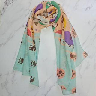 Pashmina / Long Scarf - The Yoga Dogs in Peach