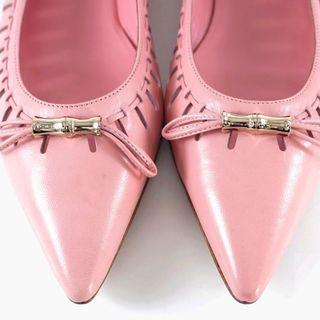 Gucci pink leather flats 平底鞋 尖頭鞋