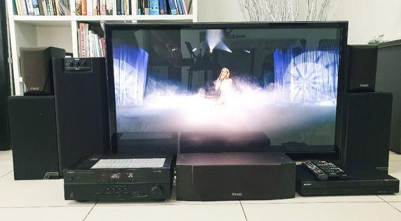 Samsung TV 50inch Amplifier Yamaha RX-V375, Sony DVD player, 5 x Mission UK speakers
