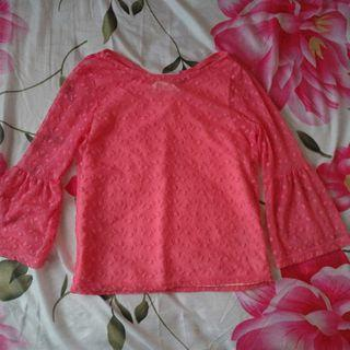 Sleeve see through Pink Lace Top
