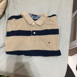 Vintage 古著Tommy polo衫 卡其 條文