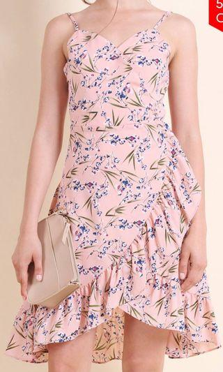MadeNM Danielle Ruffles Overlap Dress In Floral Pink