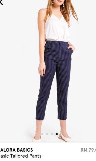 Zalora Tailored Pants (Stripes - Dark Blue)