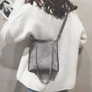 Chain Details Faux Leather and Suede Bag in Grey