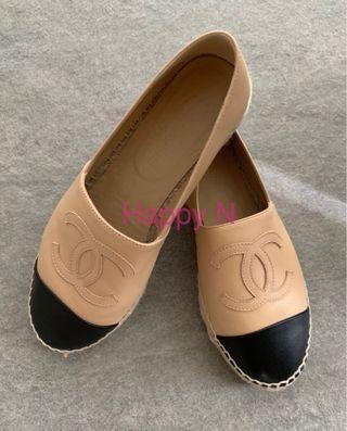 👠Chanel Espadrille beige with black cap toe