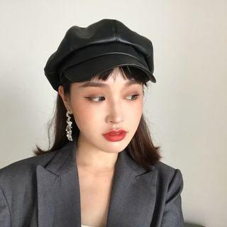 PU Leather Beret Cap in Black