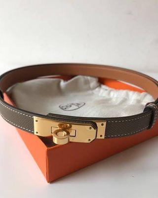 🦄🔥NEW! HERMES KELLY BELT ETOUPE Epsom GHW