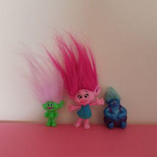 3 Trolls movie figures dolls cake toppers