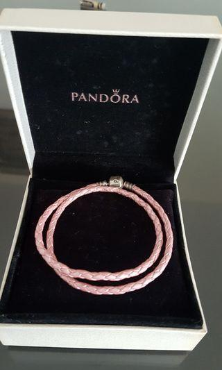 Pandora Double Woven Leather Bracelet, Pink