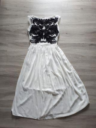 BN Black Embroidery White Dress