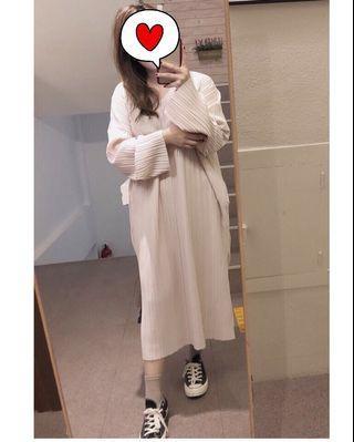 正韓 直條壓褶洋裝