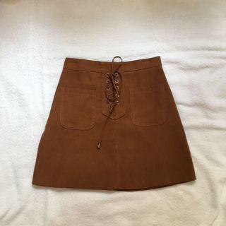 brown suede a line skirt