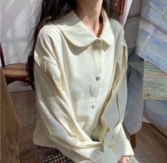 🚚 全新🌟 吊牌還在 氣質娃娃領長袖外套短版上衣