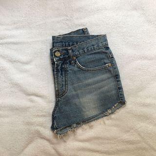 ripped demin shorts