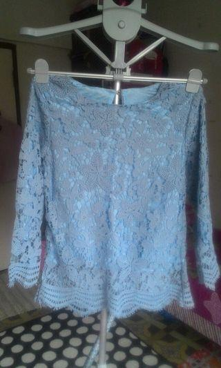 Lace Mini Kurung in Baby Blue Color
