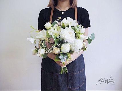 純白色絲花球 Pure White Wedding Bouquet 💐