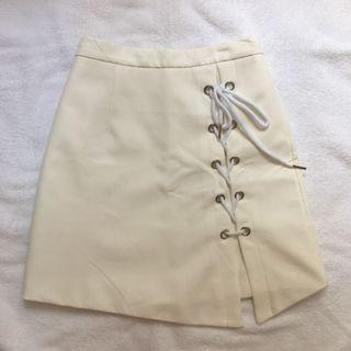 white / beige shoelace a line skirt