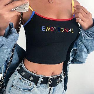colourful slogan graphic cami crop top streetwear hypewear