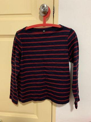 Striped Boat Neck Long Sleeve T-shirt