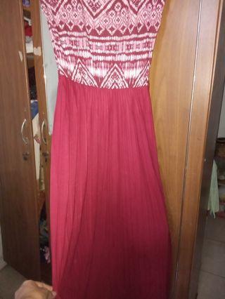 #mauthr Baju long dress warna merah maroon (preloved)