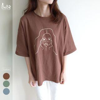 可愛雀斑女孩落肩T恤(3色) *現貨