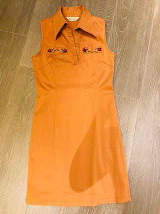 Orange brown cool sporty shirt dress