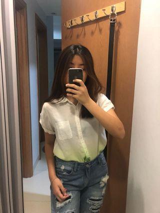 Ombre White Green Shirt Kemeja