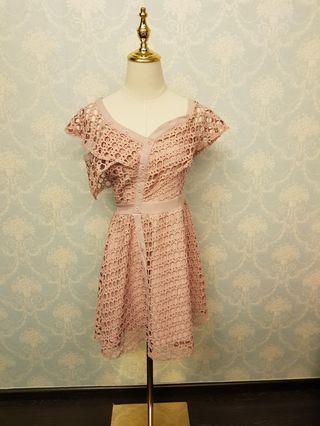 Ruffled Sleeved Pink Dress