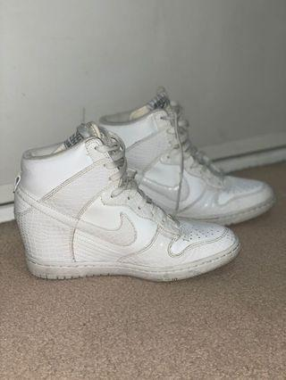 Nike white wedge sneakers